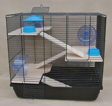 """Hamsterkäfig, Rattenkäfig, Nagerkäfig XXL HOLZAUSSTATTUNG"""" REX 3 """"Zubehör blau"""