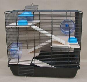 Hamsterkaefig-Rattenkaefig-Nagerkaefig-XXL-HOLZAUSSTATTUNG-034-REX-3-034-Zubehoer-blau