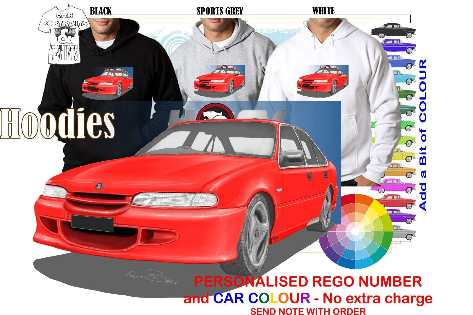 95-97 VS HSV CLUBSPORT SEDAN HOODIE ILLUSTRATED CLASSIC RETRO MUSCLE SPORTS CAR