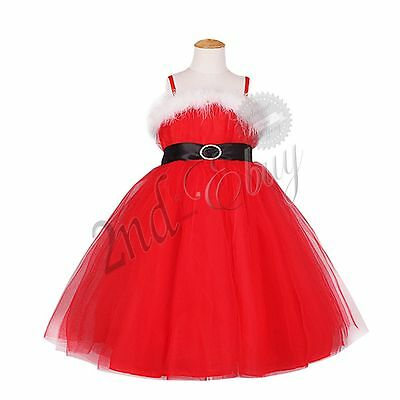 CHILDS GIRLS CHRISTMAS FANCY DRESS Kids Princess Party Ball Gown Braces Dresses