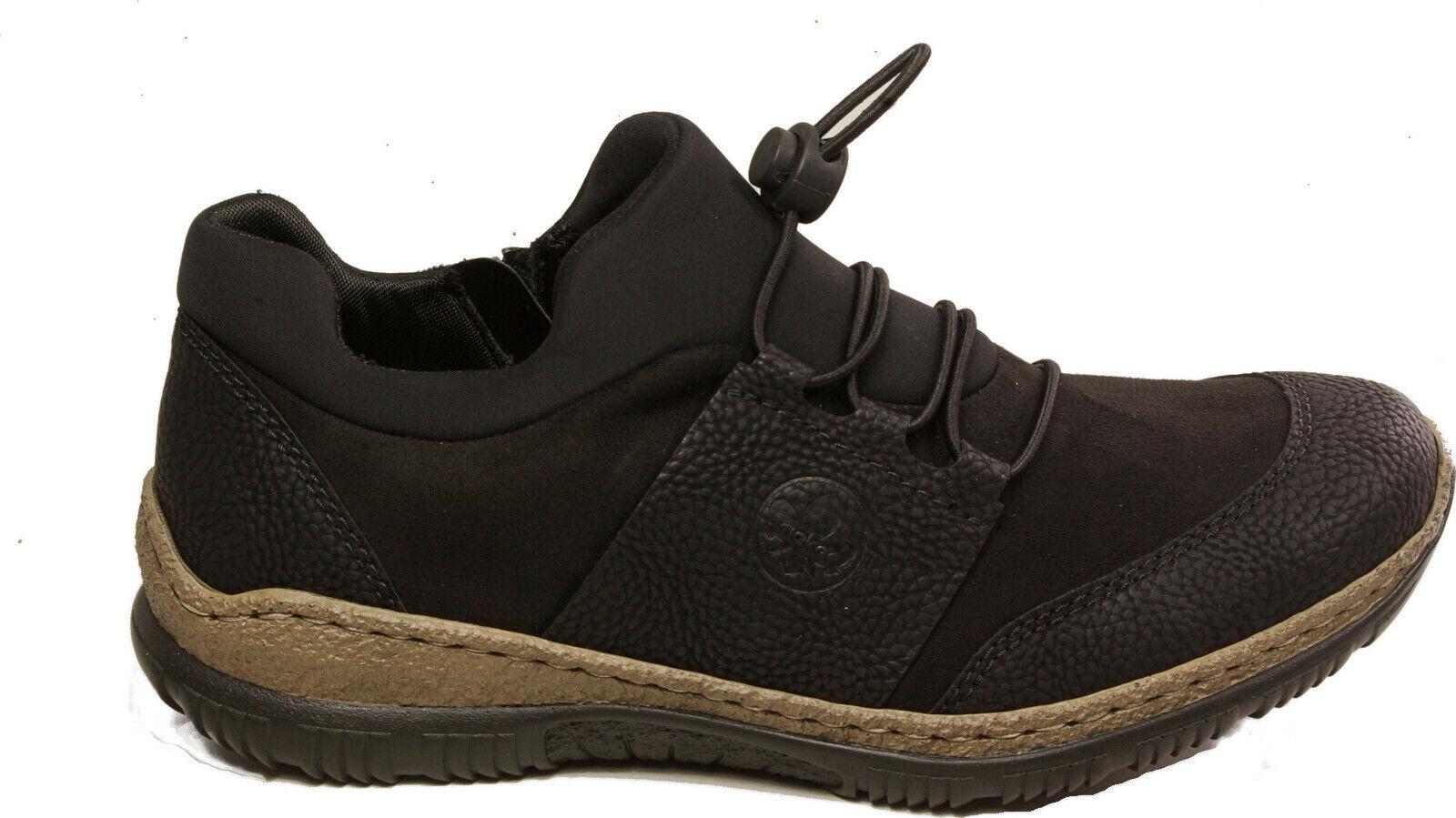 RIEKER Schuhe Halbschuhe Turnschuhe schwarz Reißverschluss elastik NEU