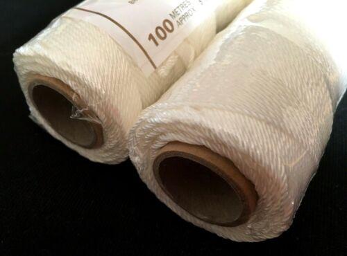 2 rouleaux Blanc CARDOC Nylon Brique Ligne 100 M 328 ft maçon maçons string taille 3 environ 99.97 m