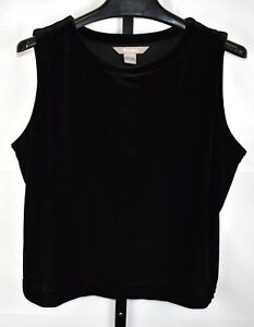 9a3937c2f86e9 Image is loading Tanjay-Black-Velour-Sleeveless-Top-Size-L