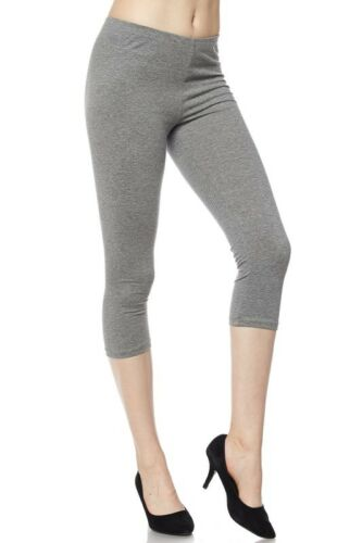 New Plus Size Soft Solid Cotton Capri Stretch Pants Leggings