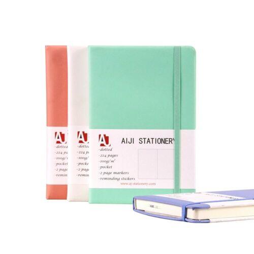 Notizbuch//Tagebuch,AIJI PU Saffian Schwarz Gepunktet zwischen A5 A6 100g//m²