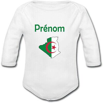 Body Bébé Carte Algérie avec Drapeau avec prénom personnalisé cadeau naissance