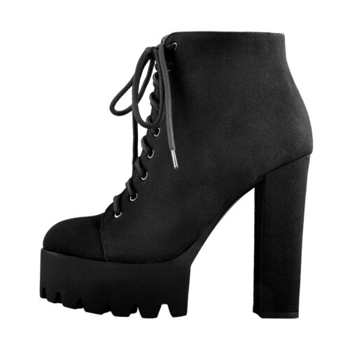 Onlymaker Womens Punk Platform Ankle Boots Chunky High Heel Lace Up Winter Shoes