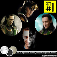 Tom Hiddleston Set Of 4 Buttons Or Magnets Or Mirrors The Avengers Loki 1317