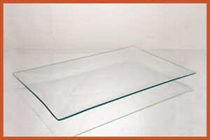 """10 1/2"""" x 16 1/2"""" Rectangle Clear """"BENT"""" Glass Plate 1/8"""