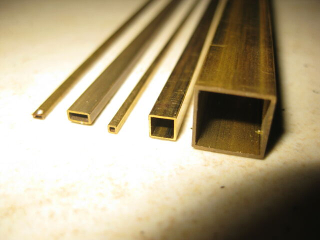 Brass square & rectangular tube for model making in 16 metric sizes, 330mm long
