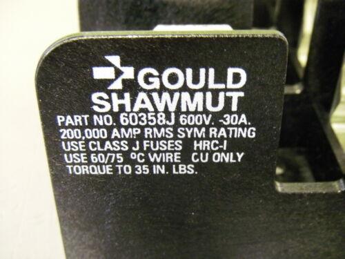 Gould Shawmut 60358J Fuse Block 30A Class J Fuses 600V HRC-I