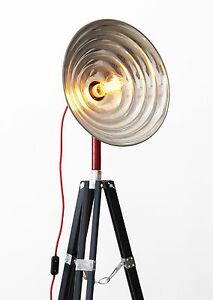 tripod steh lampe 50er holz stativ art deco retro vintage bauhaus loft 21neun ebay. Black Bedroom Furniture Sets. Home Design Ideas
