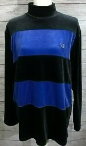 New-Tommy-Hilfiger-Top-Size-L-Pullover-Long-Sleeve-Velour-Black-Blue-Color-Block