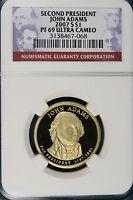 2007-S NGC PF69 ULTRA CAMEO JOHN ADAMS Presidental Dollar!! #GB