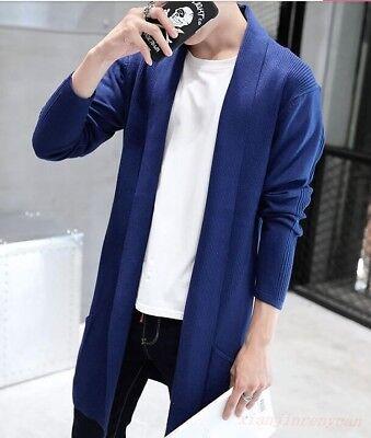 Men Casual Knitwear Jacket Cardigan Mid Long Korean Style Sweater Jumper Coat Sz   eBay