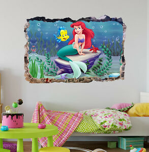 The Little Mermaid Ariel 3D Smashed Wall Sticker Decal Art Mural Disney J476