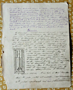 c1880-science-manuscript-document-BAROMETER-handmade-illustrations-drawing-RARE