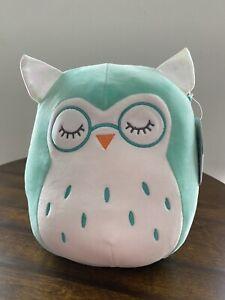 "Squishmallow 8"" Aqua/Blue Owl w/Glasses, Winston, NWT (2021 Squad)"