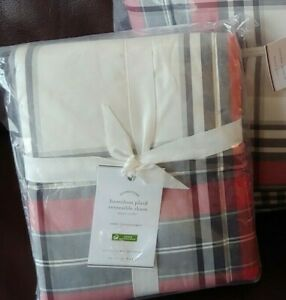 Pottery Barn Set of 2 Hamilton Plaid Euro Shams NEW
