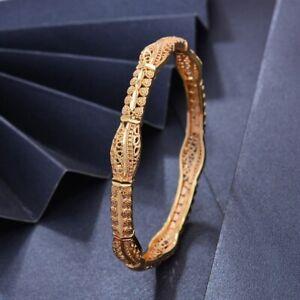 Gold Bangle Handmade 24K Gold Plt Dubai Design Bracelet Safety Lock UK Seller
