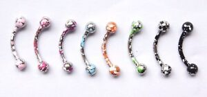 16g-Speckled-Colored-Paint-Flecked-Earring-Curved-Eyebrow-Barbell-Stud-ring-bar