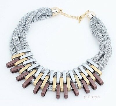 Fashion Women Bib Choker Collar Chain Chunky Pendant Statement Necklace Jewelry