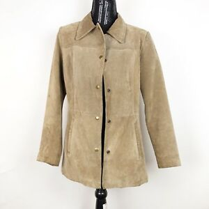 Kenneth-Winnie-Womens-Leather-Jacket-Size-Large-Beige-Soft-Vintage-Jacket