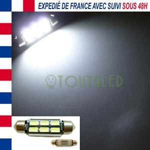 AMPOULE LAMPE NAVETTE C7W 39MM 12V 6 LED 5630 BLANC FROID INTERIEUR PLAFONNIER