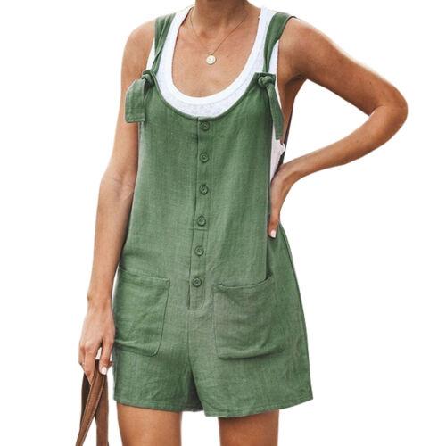 Women/'s Casual Round Neck Solid Spaghetti-Strap Romper Wide Leg Short Jumpsuit