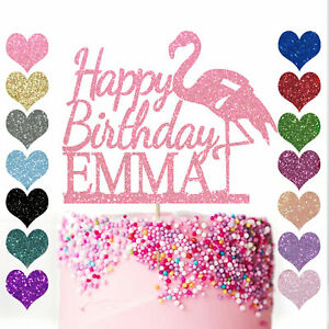 Personalised-Cake-Topper-Custom-Flamingo-Happy-Birthday-Party-Glitter-Decoration