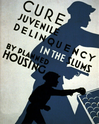 POSTER CURE JUVENILE DELINQUENCY BY PLANNED HOUSING USA VINTAGE REPRO FREE S//H