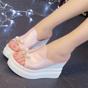54498fef75b6 Image is loading Designer-Women-Summer-Sandals-Thick-Heel-Platform-Wedges-