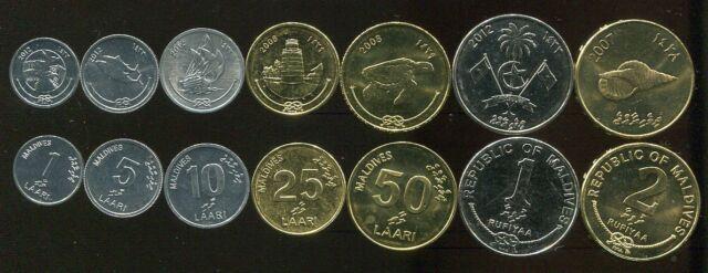 MALDIVES SET 7 COINS 1 5 10 25 50 LAARI 1 2 RUFIYAA 2007-2012 UNC