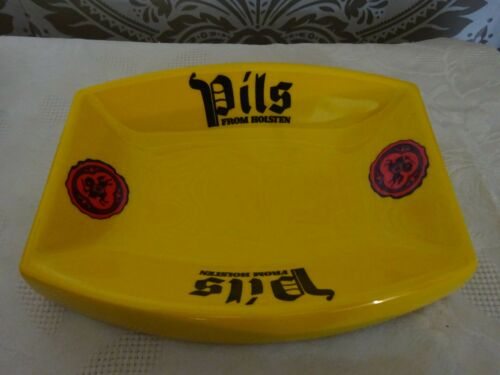 Vintage retro Melamine Pub advertising Ashtray Holsten Pils Yellow NEW Unused