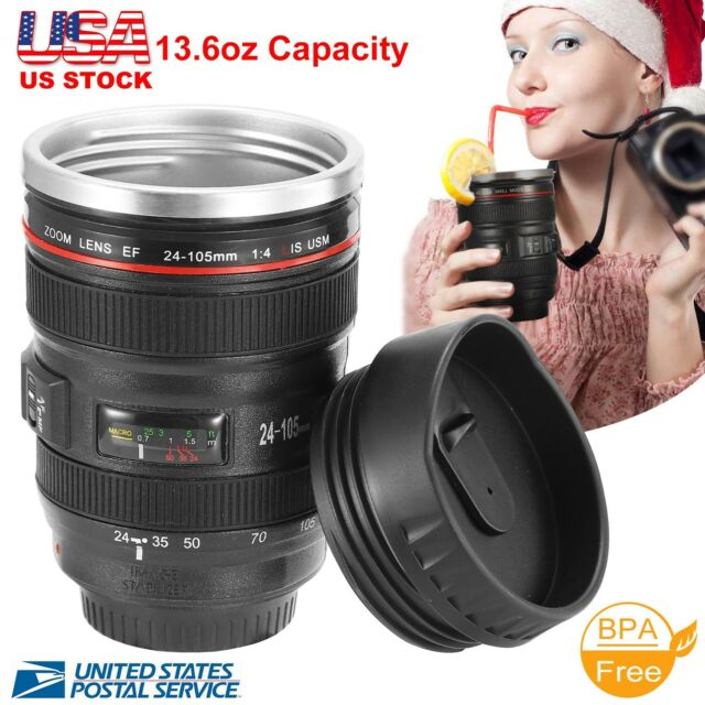 Camera Lens 24-105mm Travel Coffee Mug / Cup with Drinking Lid Stainless Steel