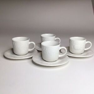 Gibson-Housewares-China-White-Raised-Fruit-Coffee-Tea-Cups-And-Saucers-Set-of-4