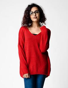 Nouveau Femme Rouge Surdimensionné Décontracté Semi-sheer Knit col V Pull RRP £ 25 8-16