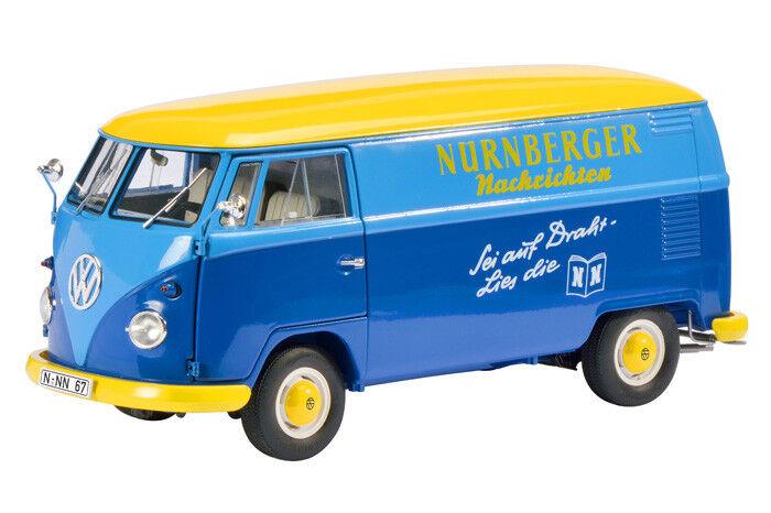 Schuco 450027900 VW T1 1 18,Transporter   Nürnberger Nachrichten Nachrichten Nachrichten   bluee Yellow a35e30