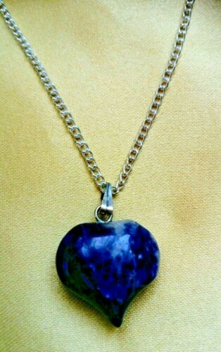 Purple Natural Gemstone Heart Love Crystal Necklace Pendant Valentine/'s Day Gift