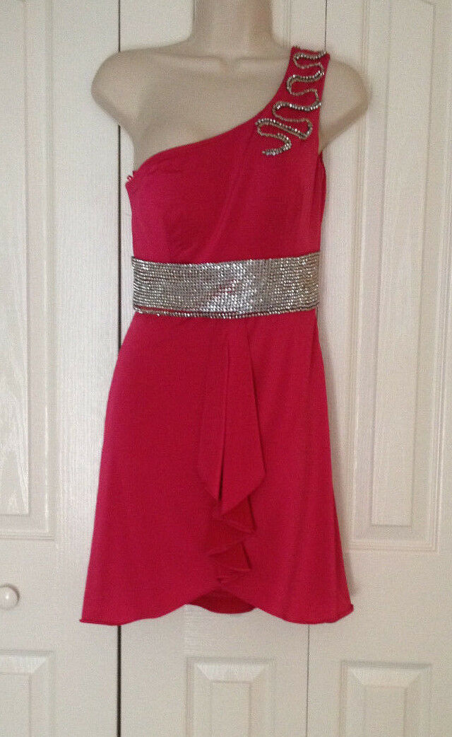 NWD  KIMIKAL HOT PINK RHINESTONE BELT ONE SHOULDER PARTY NYE DRESS S SMALL
