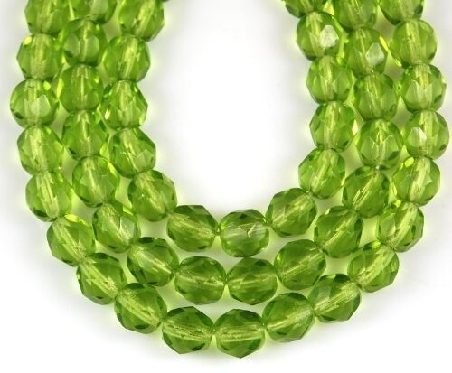 50 Czech Peridot Round Faceted Glass Beads Jewelry Making Loose Spacer Craft 6mm
