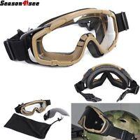 De Tactical Ballistic Bullet Proof Paintball Goggle Army Assault Glasses 2 Lens