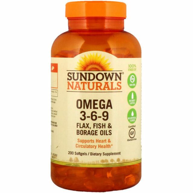 Sundown Naturals Omega 3 6 9 Flax Fish Borage Oils 200mg 200