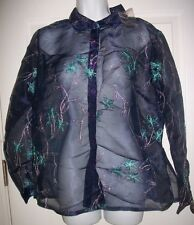 French Laundry Women's Sheer Blue, Green, & Silver Metallic  Shirt Size L NWOT