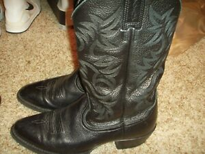 bae1db353f7 Details about Ariat 34770 Deertan Leather Heritage Western R Toe Cowboy  Boots Size Mens 8.5D