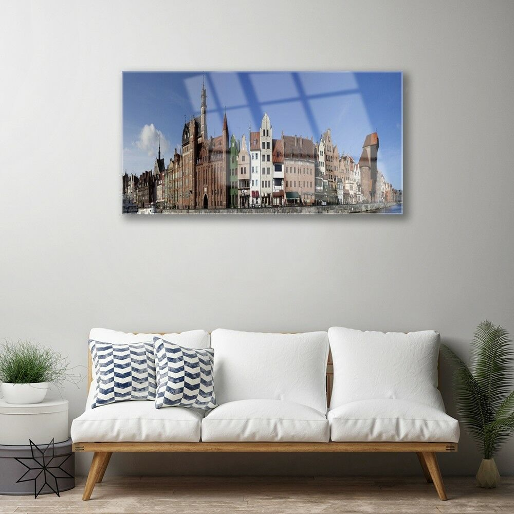 Print on Glass Wall art art art 100x50 Picture Image City Houses b04157