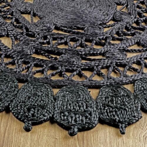 Zarla Hand Woven Black Jute Round Rug 120cm 4ft Eco Friendly Mat Floor Cover