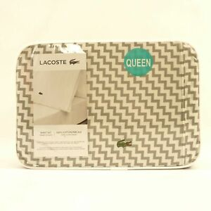 Lacoste-Queen-Sheet-Set-100-Cotton-Percale-White-Sleet-Gray-Chevron-Print-100