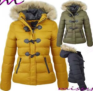 NEW WOMENS LADIES QUILTED WINTER COAT PUFFER HOODED JACKET PARKA EVERLETT