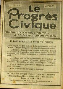 Le Progrès Civique N°89 1921 - Journal De Critique Politique - Henri Dumay Rare